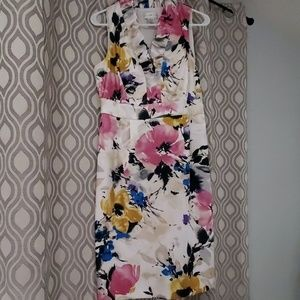 Watercolor floral London Style dress ruffle collar